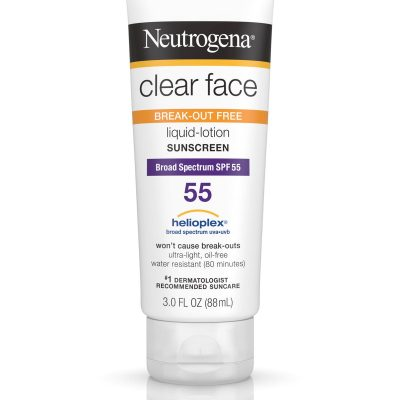 acne sunscreen 400x400 - Neutrogena Clear Face Sunscreen - Breakout Free SPF 55