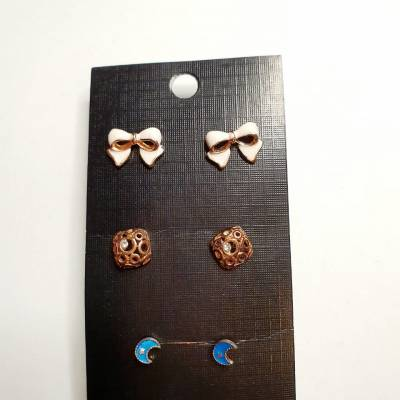 06 1 pc cost XX price 650 400x400 - Jewellery Ear Adornments - Bow Cube Moon Studs
