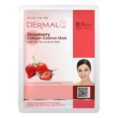 strawberry 400x400 - Dermal Sheet Mask Collagen Essence Mask - Strawberry