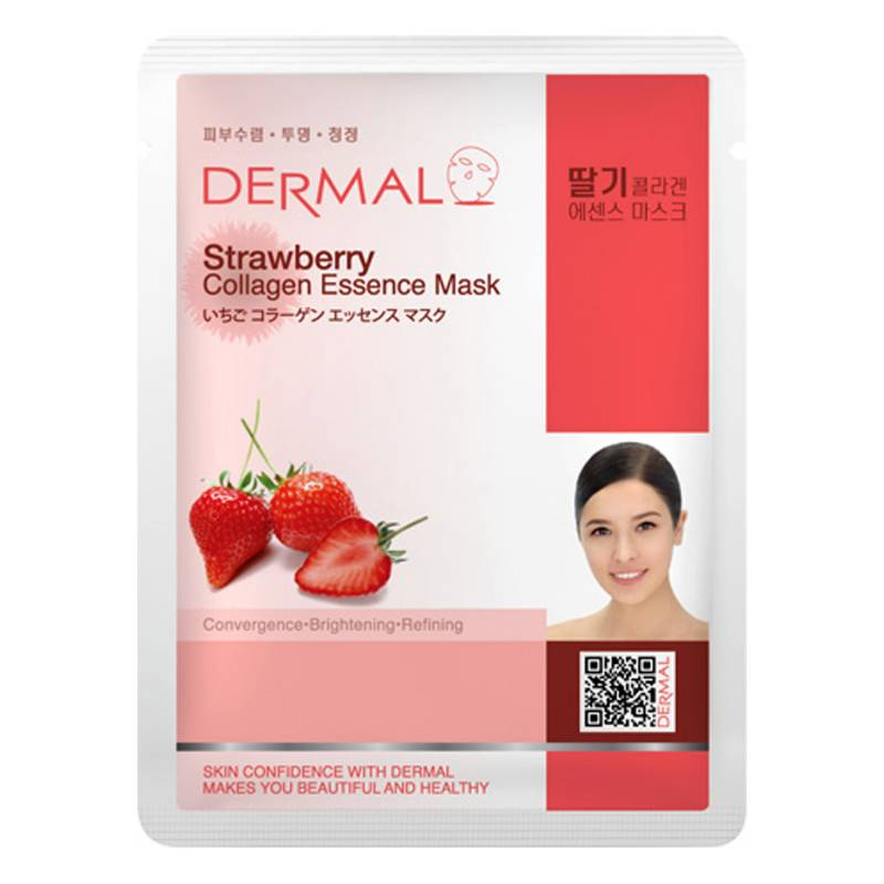 strawberry 800x800 - Dermal Sheet Mask Collagen Essence Mask - Strawberry