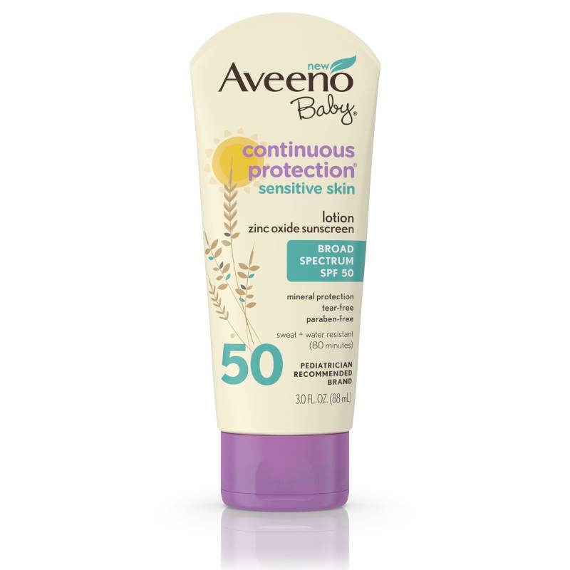 Aveeno Baby Continuous Protection Sunscreen SPF 50 800x800 - Aveeno Baby Lotion Sunscreen - Continuous Protection SPF 50 (88ml)