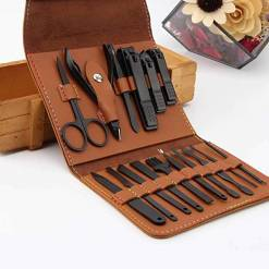 AIWOGEP 16 Pieces Manicure Set with PU Leather Case, Personal Care Tool Kits, Stainless Steel Pedicure Set,Nail Clippers Scissors Gifts for Men/Women