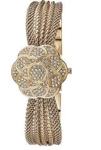 Anne Klein AK-1046CHCV Swarovski Crystal Accented Gold-Tone Covered Dial Mesh Bracelet Watch