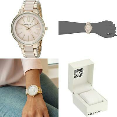 Anne Klein Women's Gold-Tone and Blush Pink Resin Bracelet Watch2