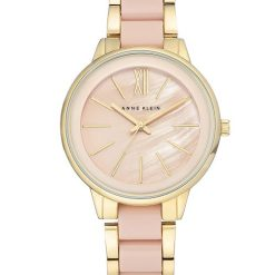 Anne Klein Women's Gold-Tone and Blush Pink Resin Bracelet Watch2