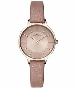 ibso Female watch leather strap round case brown