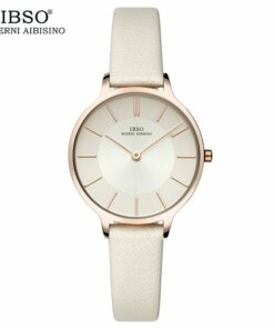ibso Faemale watch leather strap round case white3